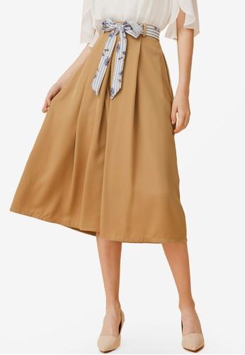 Eyescream brown Box Pleat Midi Skirt With Sash 59AECAA04E131CGS_1