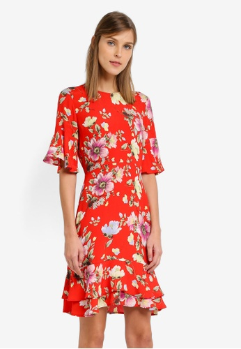 WAREHOUSE red Int Floral Frill Hem Dress WA653AA0SL1YMY_1