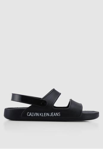Calvin Klein 黑色 LOGO印花繞帶涼鞋 F006FSH1750675GS_1