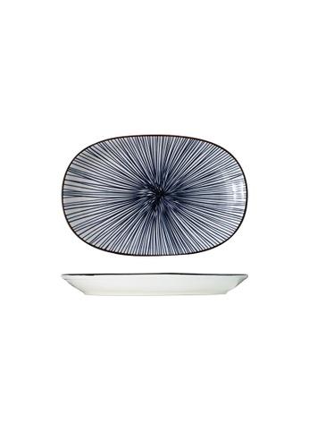 Table Matters multi Blue Illusion - 12 inch Oval Shaped Plate 1E982HL9B3E273GS_1