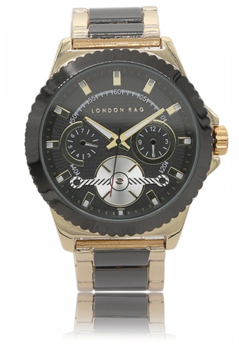 London Rag black and gold Classic Stainless Steel Strap Watch For Men 954A0AC7DF0968GS_1