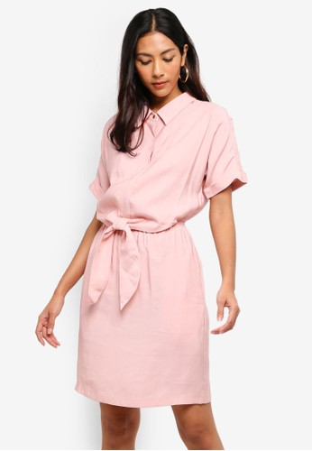 Hopeshow pink Collared Dress With Front Tie Waistline 6E3B1AA3D6105FGS_1