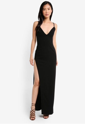 MISSGUIDED black Crepe Multi Strap Plunge Side Split Maxi Dress C882AAA102A0B1GS_1