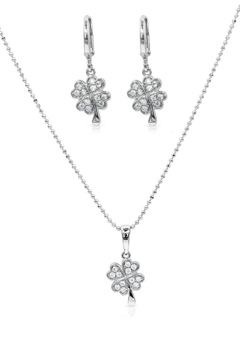 SO SEOUL silver Four Clover Diamond Simulant Earrings And Necklace Set FF942ACCBB5475GS_1
