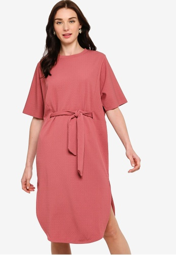 ZALORA pink Oversized Round Hem Dress with Self Tie 3CBA1AA7C55249GS_1