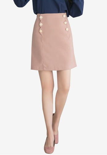 YOCO pink Double Buttoned Skirt 6E6AFAA06B80ABGS_1