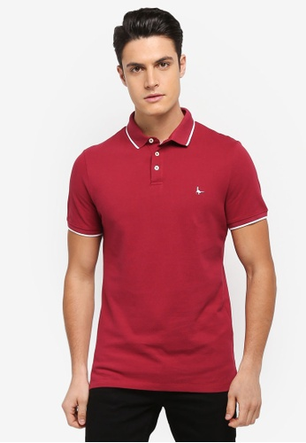 Jack Wills red Edgware Tipped Polo Shirt E1120AA8B69E43GS_1