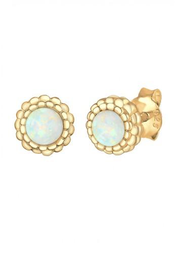 Elli Germany gold 925 Sterling Silver Earring Round Circle Geo Blogger Opal,Berlapis Emas Emas 374D7ACBD1154CGS_1