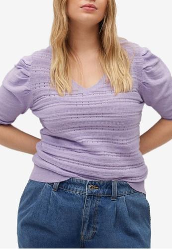 Violeta by MANGO purple Plus Size Puffed Sleeves Sweater 3521BAA1EC6E83GS_1