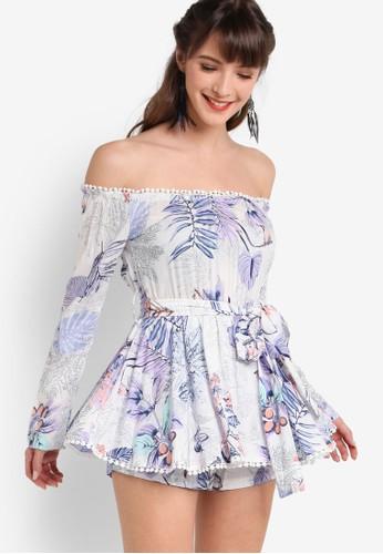 Peplesprit 見工um 平口露肩起褶窄腰連衣裙, 服飾, 服飾