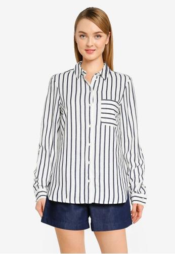 Dorothy Perkins navy Navy Stripe Print Linen Shirt E53FBAAAD9A54CGS_1