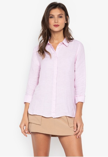 MARKS & SPENCER pink Pure Linen Long Sleeve Shirt 2051AAA68C217EGS_1