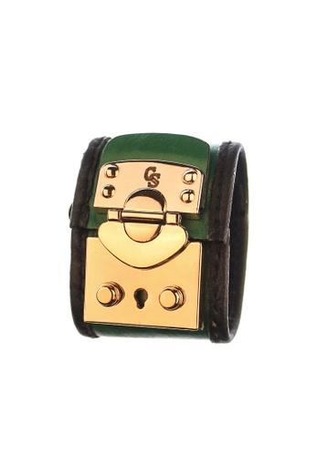CSHEON green Secret Code Haydes Green Genuine Leather Bracelet Cuff B4663AC696F6BAGS_1