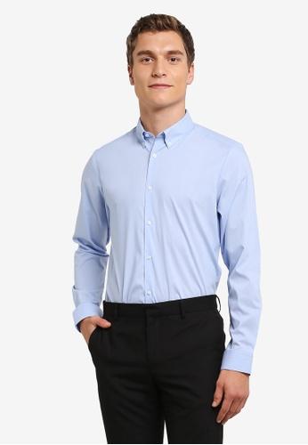 Burton Menswear London 藍色 Blue Stripe Oxford Formal Shirt BU964AA0RQOBMY_1