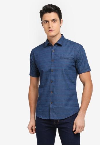 Kent & Crew green and blue Fashion Slim Fit Short Sleeve Shirt 3EBFBAACC46E5BGS_1