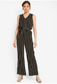 6fb8a0bbed ZALORA BASICS multi Basic V-Neck Front Buttoned Jumpsuit 35F52AA729122EGS_1