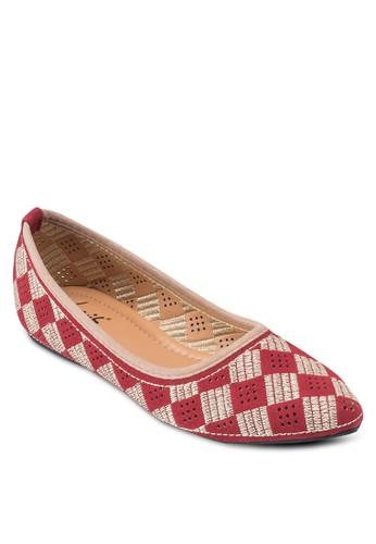 格紋尖頭平esprit 面試底鞋, 女鞋, 鞋