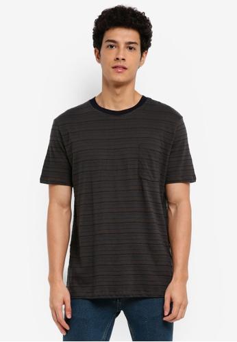MANGO Man 灰色 短袖條紋T恤 CE8C9AA945552FGS_1