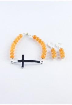 Carnelian Cross Bracelet
