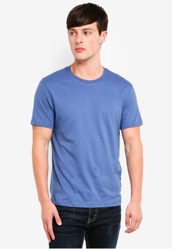 Burton Menswear London 藍色 Mercury Blue Crew Neck T-Shirt BE886AA0318B27GS_1