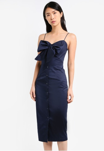 ZALORA navy Tie Detail Bodycon Dress 0591CAA42DCF38GS_1