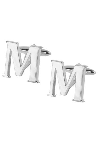 CUFF IT silver Initial Alphabet M Cufflinks CU047AC2VHEOHK_1