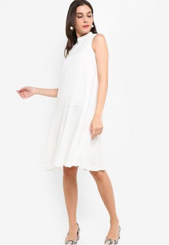 ZALORA white High Neck A-Line Dress 5B7A6AAC2FEA58GS_1