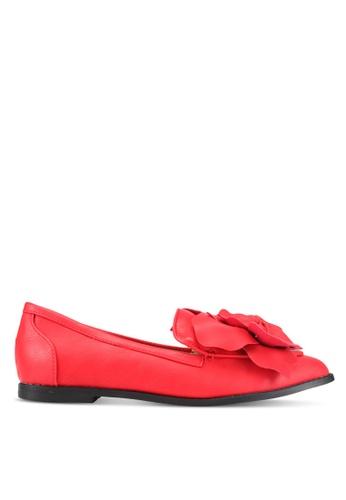 LOST INK red Franki Flower Trim Loafers LO238SH0SZ3HMY_1