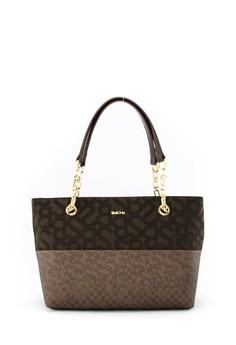 SEMBONIA  Jacquard Trimmed Leather Monogram Shoulder Bag (Dark Brown)