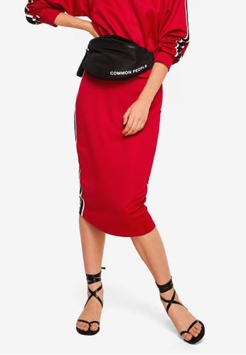 Mango red Contrast Trim Skirt 1389FAA7CF699DGS_1