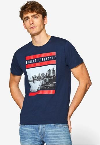 ESPRIT 海軍藍色 短袖T恤 267E2AAA35ACBDGS_1