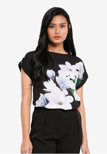 Dorothy Perkins black Black Floral Print Tee DB23FAACACCCEBGS_1