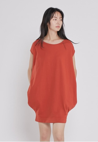 so that's me red French Terry Balloon Shape Pocket Dress Red B1A23AAE947DEBGS_1