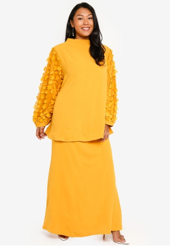CURVA FABULOUS yellow High Neck Butterfly Kurung E5D44AA440CFABGS_1