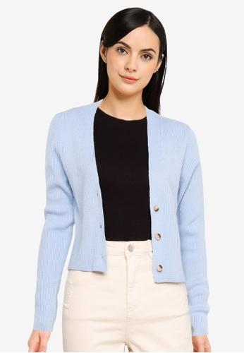 MISSGUIDED blue Skinny Rib Crop Cardigan 915ECAA92DDEF7GS_1