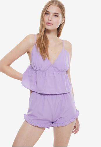 Trendyol 紫色 Frilly Woven Pajamas Set 2654FAABBC6837GS_1