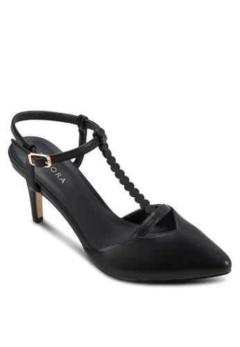 T 字繞踝zalora 心得尖頭高跟鞋, 女鞋, 厚底高跟鞋