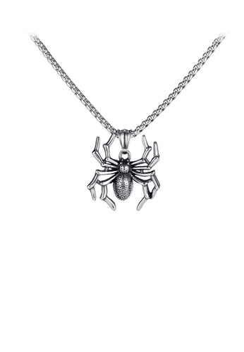 Glamorousky silver Fashion Personality Spider 316L Stainless Steel Pendant with Necklace 0F716AC8E14603GS_1