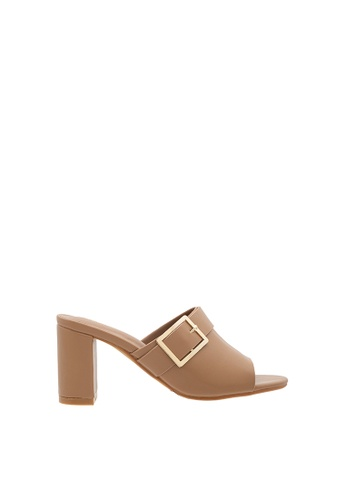 SEMBONIA brown SEMBONIA Synthetic Leather Heeled Sandal (Brown) 25D97SH7CAD885GS_1