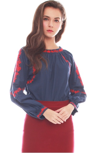 JOVET blue Embroidered Blouse 1ECB7AA615A86DGS_1