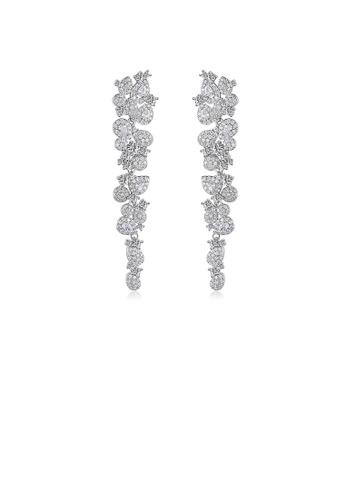 Glamorousky white Fashion Bright Water Drop-shaped Tassel Earrings with Cubic Zirconia 65BC8AC302AB56GS_1