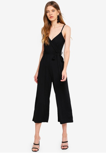 19d97e29122 Buy Miss Selfridge Wrap Rib Culotte Jumpsuit Black Online on ZALORA ...