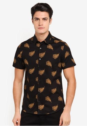 Burton Menswear London black Black And Gold Short Sleeve Feather Print Shirt BU964AA0T1GTMY_1