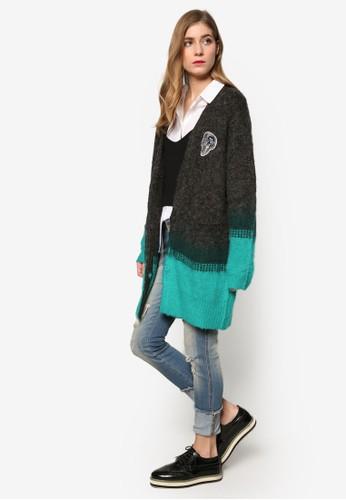 Play 撞色長版羊esprit holdings毛針織外套, 服飾, 外套