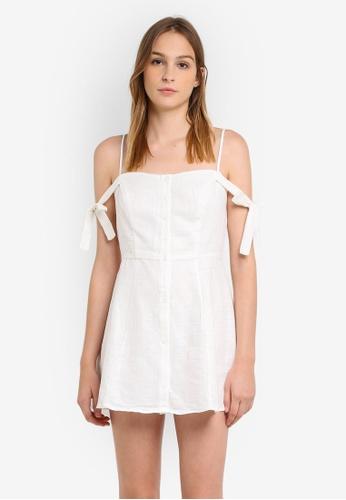 Glamorous white Cold Shoulder Button Through Dress GL059AA0RWWOMY_1