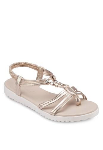 金飾T 字繞踝涼鞋, 女鞋esprit outlet 台灣, 鞋