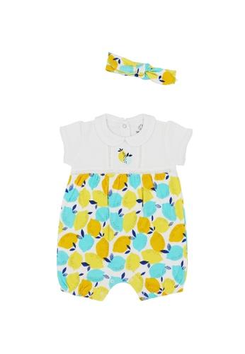 Baby Lovett white Playful Lemons Romper with Headband 09CFBKA6D3C7CAGS_1