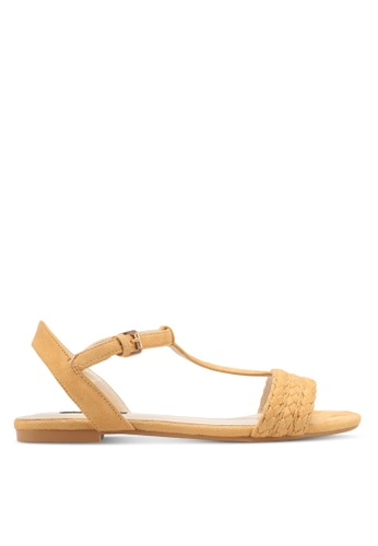 ZALORA yellow Braided Flat Sandals 80079SHCEE46BCGS_1