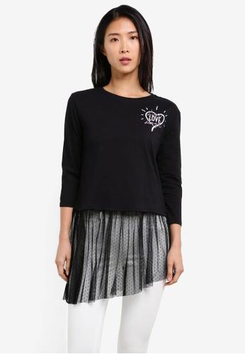 Esprit black 3/4 Sleeve T-Shirt ES374AA0SAY6MY_1