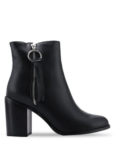954234b2778 Public Desire black Frose Mid Heel Block Ankle Boots 97CDBSHA277697GS 1